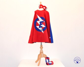 Personalised Superhero Outfit | Childrens Superhero Costume | Cape, Mask & Cuff Set | LIGHTNING BOLT Design | - with initial in the logo