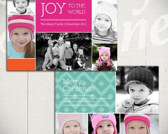 Christmas Card Template: Rejoice C - 5x7 Holiday Card Template for Photographers