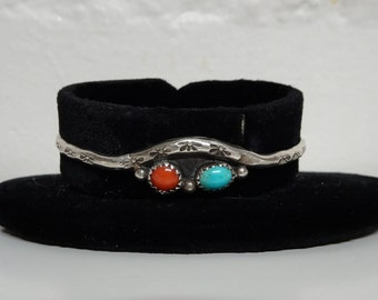 Vintage Native American Turquoise and Coral Bracelet, Sterling Silver Bracelet Signed - FREE SHIPPING