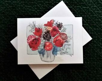 Christmas or Holiday Greeting Watercolor Print