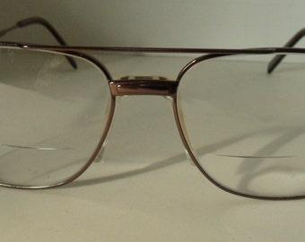 Vintage 1980s Eyeglasses, Woolrich 7765 Brown Polished Metal Frames, Round Eyeglasses, Vintage Eyewear Vintage Frames, Hipster Glasses