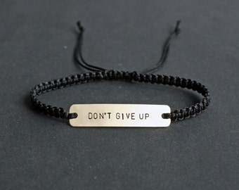 Don't Give Up Sterling Silver or Brass and Macramé Bracelet, Choice Of Colours Available