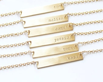 Personalized Necklace, Gold Bar Necklace, Gold Necklace, Customized Name Bar Necklace, Personalized Necklace, Gift for Her, The Silver Wren