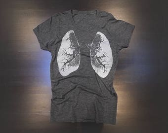 X-Ray Lungs Urban Ladies' Poly/Cotton T-Shirt in Charcoal