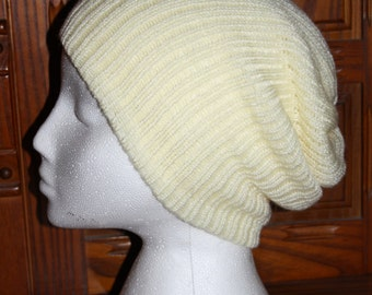 Hand Made Acrylic Semi Slouch Hat, Beanie Style Hat With a Slouch
