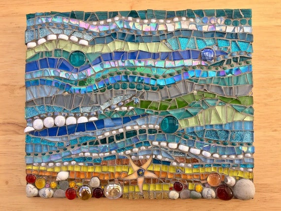 Handmade glass and pebble mosaic picture Unique gift idea Home decor 'Seascape I' Mosaic wall art