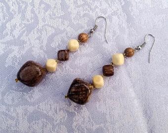 Cube Earrings, Geometric Earrings, Wooden Earrings, Natural Wood Jewellery