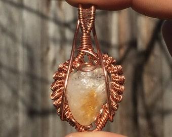 Citrine Copper Wire Wrapped Pendant