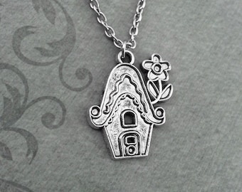 Birdhouse Necklace SMALL Birdhouse Jewelry Silver Bird House Necklace Bird Necklace Bird Jewelry Bird Gift New House Gift Bridesmaid Gift