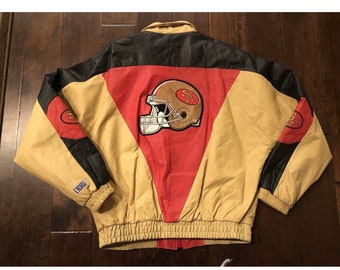 Vintage San Francisco 49ers 100% Leather Ladas Sports Inc. Stitched JacketMens Large
