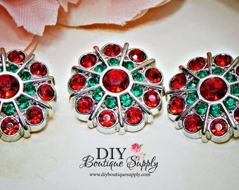 Rhinestone Buttons Red & Green - Christmas Buttons Holiday Crystal Buttons Embellishments Flower centers Headband Supplies 5 pcs 24mm 678040