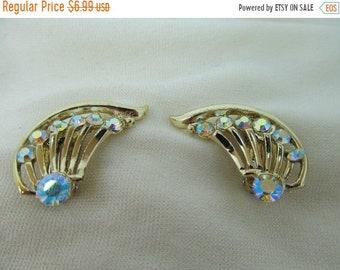 On Sale 1960s Iridescent Rhinestone Earrings Item K # 1061