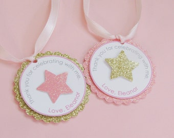 Twinkle Twinkle Little Star Favor Tags, Pink and Gold -12 tags