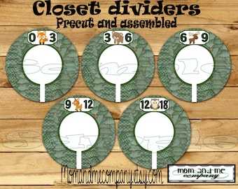 Custom baby closet dividers Woodland Baby Boy Closet Dividers Clothes Dividers Size Dividers Rod Hangers forest dividers Baby shower gift