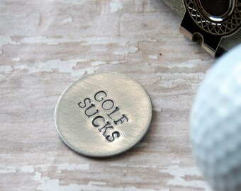 Golf Ball Marker - Golf Sucks Magnetic Golf Ball Marker - Hat Clip - Father's Day - Dad Gift - Golfer Gift - Golf Lover Gift - Grandpa