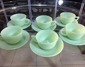6 cups + 6 plates jadeite Green Anchor Hockins