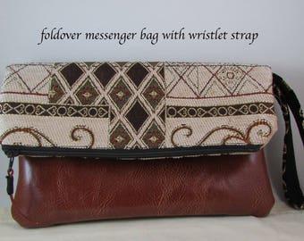 Clutch Bag - Decor Fabric - Great Gift Idea - Strap Evening Bag - Handbag - Wristlet Bag with Brown Faux Leather - Purse Foldover Messenger