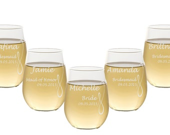 Stemless Wine Glasses / Personalized Bridesmaids Gift / Wedding Party Glasses / Custom Engraved Glassware / Select Any Quantity / 16 DESIGNS