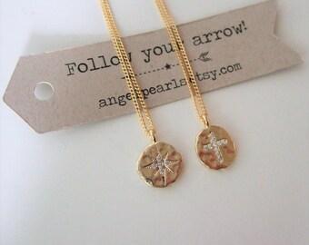 Gold cross pendant Necklace,inspirational,Star necklace,Choker chain necklace,Dainty gold necklace,Gold choker necklace,Gift to Her,Teens