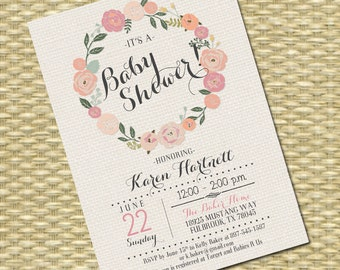 Printable Baby Shower Invitation Floral Wreath Rustic Burlap Sip and See Baby Sprinkle Baby Tea ANY EVENT