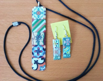Earrings set and modernist hydraulic tile necklace