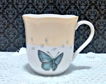 "Vintage Coffee Mug, ""Butterfly Meadow"" by Lenox, Fine Porcelain Cup, Coffee Mug, Circa 1990s"