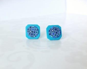 Small stud earrings , Everyday earrings  , Turquoise  Contemporary jewelry, Geometric earrings, Minimalist earrings, Polymer clay jewelry