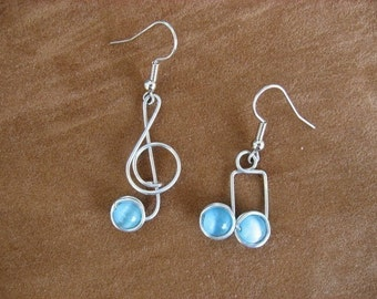 blue MUSIC NOTE EARRINGS wirewrapped, nickle-free