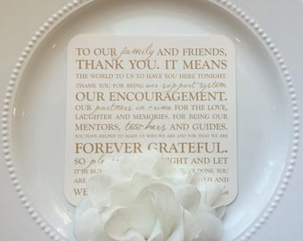 Wedding Menus    Wedding Thank You    Double Sided Thank You Menu Style 23 Gold Wedding Collection