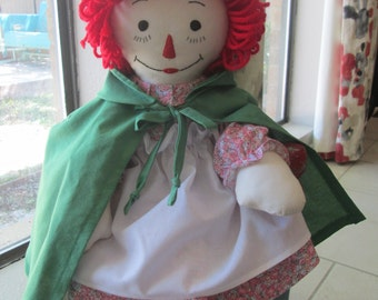 "Fabric Rag Doll , 19"" Raggedy Ann Cloth Doll , Handmade Cloth Doll , 1950's Vintage Doll Design , Child Friendly Doll , 100% Washable Toy"