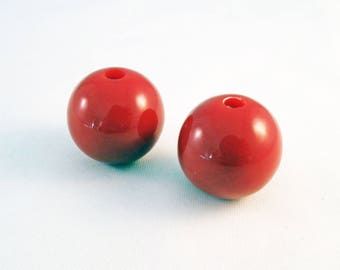 PAC46 - 5 large red Bubble Gum Opaque diameter 20mm acrylic beads