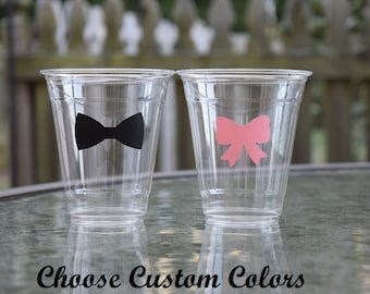 20 Bow Ties or Bows Gender Reveal Cups, 9 12 & 16 oz Cups, Bow Ties or Bows Cups, Disposable Party Cups, Disposable, Plastic, Beau or Bows