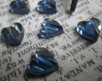 Tiny Montana Sapphire Blue Textured Red Glass Heart Cabochons 8x8mm 6 Pcs