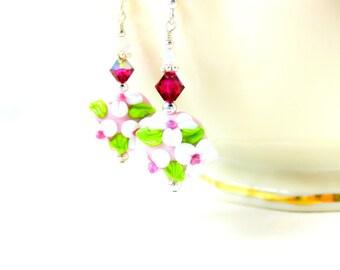 Pink White Earrings, Floral Earrings, Lampwork Earrings, Pastel Pink Glass Earrings, Cotton Candy Pink White Green Earrings - Pretty Please