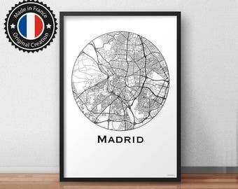 Poster Madrid Spain Minimalist Map - City Map, Street Map