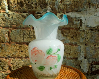 Aqua  Crest Vase Ruffle Top - Hand Painted Pink Roses With Opalescent Glass - Shabby Chic Flower Vase