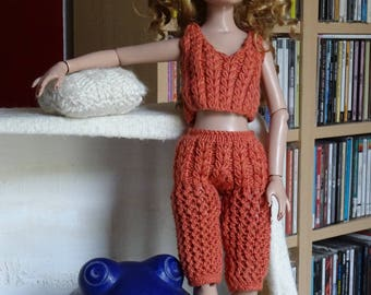 Ellowyne Wilde or 40 cm BJD: coral cotton pants and top set