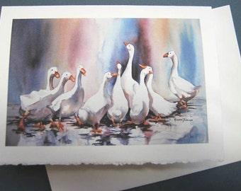 Ducks Geese Splashy Ducks 5 x7 Note Card, Greating Card, Purple, Jewel Tones, Rain