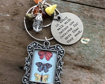 Nature Walk Necklace, Butterfly, Nature, Woodland, Quote, Long Necklace, Boho Necklace