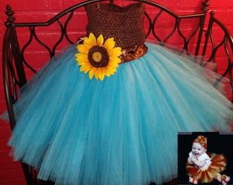 Tutu Outfit Tulle Flower Girl Sunflower Dress Wedding