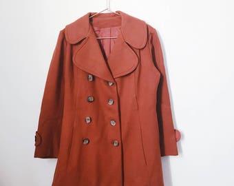 vintage 70s burnt orange peacoat jacket (medium to large)