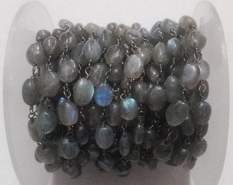 50% OFF 5 Feet Labradorite Smooth Oval Beaded Chain - Oxidized Sterling Silver Wire or Oxidized Wire Wrapped Chain - Beads Size 6X8mm