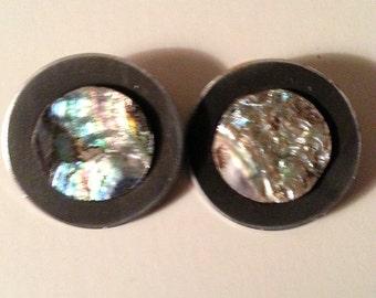 Beautiful Vintage Sheffield Abalone Clip Earrings