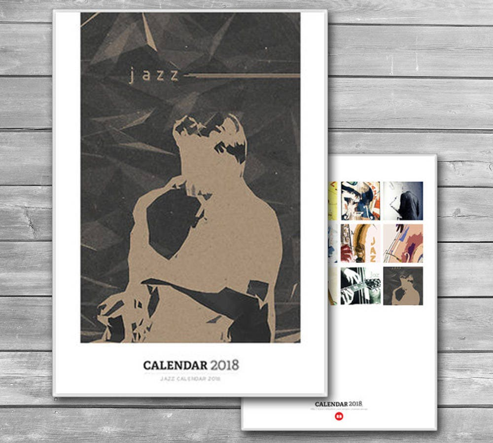 Black and White Calendar 2018 Monthly Wall Calendar New