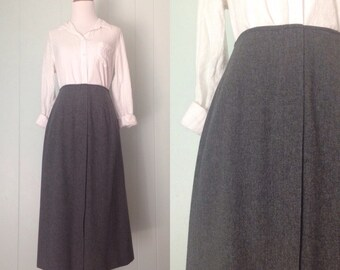 1950s Dark Grey A-Line Skirt | 50s Heather Gray Faux Wrap Skirt | Vintage Retro Wool Gathered Nipped Waist Midi Skirt