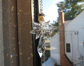Swarovski Crystal Suncatcher, Swarovski Suncatcher, Guardian Angel, Crystal Angel Suncatcher, Home Decor, Keira's Crystal Creations