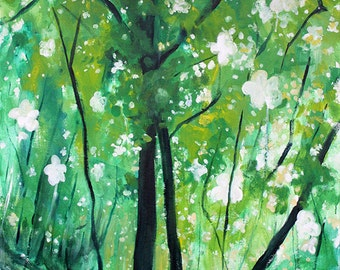 """large green """"Denning's Point in Spring"""" painting 30"""" x 40"""""""