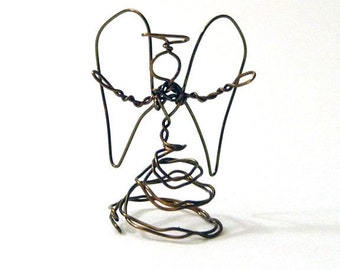 Wavy Antiqued Bronze thin Tiny Wire Angel (J)