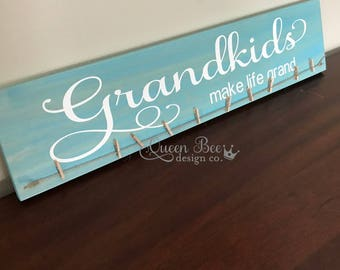 Grandkids Make Life Grand Photo Hanger.Photo Display.Grandkids Sign.Picture Frame.Picture Display. Mother's Day Gift Idea. Gift Idea.Aqua