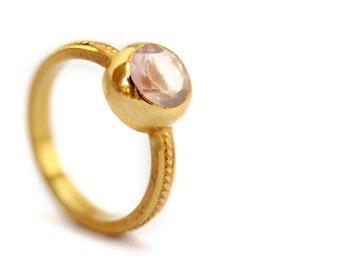 Pink Engagement Ring - rose quartz - 14K gold- Unique Bio ring Engagement Ring-Promise ring, filigree ring, love ring